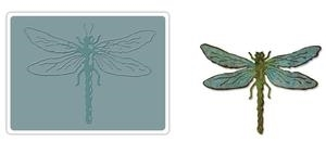 Tim Holtz Sizzix LAYERED DRAGONFLY Bigz Die With Texture Fades 659579