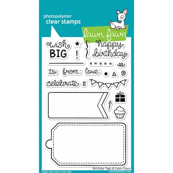 Lawn Fawn BIRTHDAY TAGS Clear Stamps