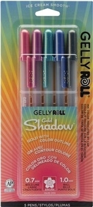 Sakura GOLD SHADOW GELLY ROLL 5 Set Bold Point Pens 58760*