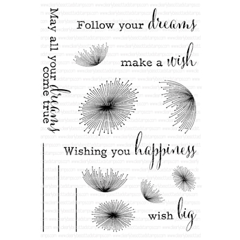 Clearly Besotted DANDELION DREAMS Clear Stamp Set