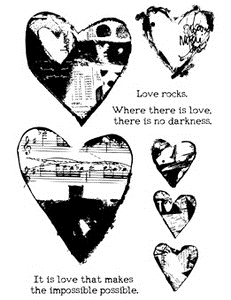 Dina Wakley COLLAGED HEARTS Media Cling Rubber Stamp MDR41306