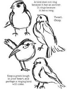 Dina Wakley SCRIBBLY BIRDS Media Cling Rubber Stamp MDR41320
