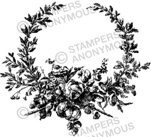 Tim Holtz Rubber Stamp FLORAL WREATH Stampers Anonymous U2-2293 Preview Image