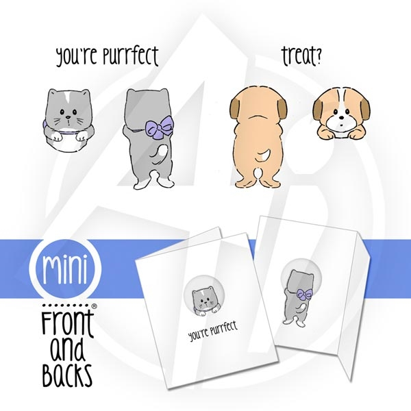 Art Impressions CAT & DOG MINI SET Front and Backs Cling Rubber Stamps zoom image