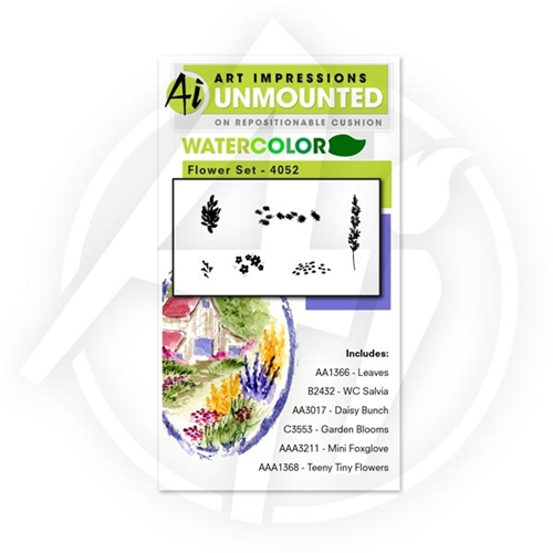 Art Impressions FLOWER SET Watercolor Cling Rubber Stamps 4052 Preview Image