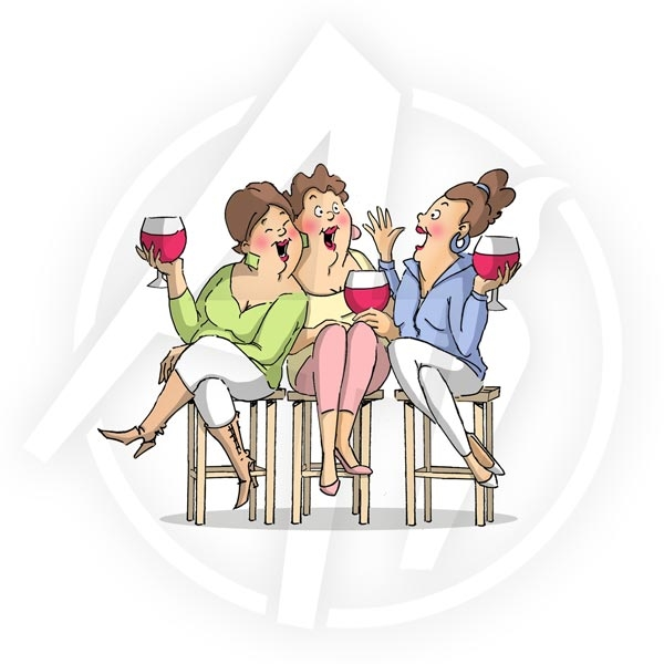 Art Impressions WINE TASTERS Girlfriends Cling Rubber Stamp 4387 zoom image