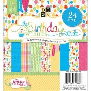 DCWV Cardstock 6 x 6 BIRTHDAY WISHES Paper Stack Printed Matstack MS-019-00009 zoom image