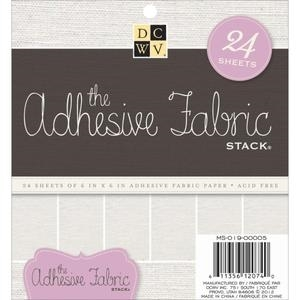 DCWV Cardstock 6 x 6 ADHESIVE FABRIC Paper Stack Printed Matstack MS-019-00005