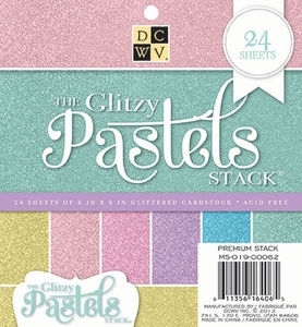 DCWV Cardstock 6 x 6 GLITZY PASTELS Paper Stack MS-019-00062