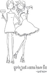 Stamping Bella Cling Stamp UPTOWN GIRLS VICTORIA AND JULIETTE'S NIGHT OUT Rubber UM LL134 Preview Image