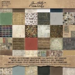 Tim Holtz Idea-ology 12 x 12 Paper Stash CROWDED ATTIC TH92897