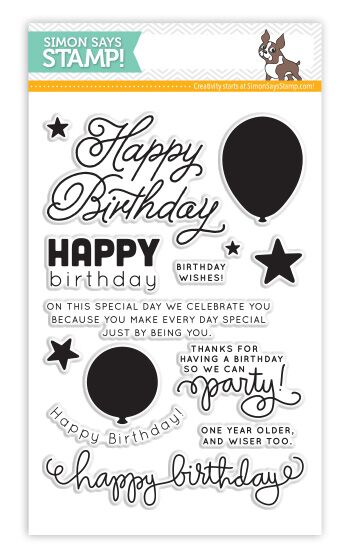 Simon Says Clear Stamps BIRTHDAY BALLOONS SSS101390