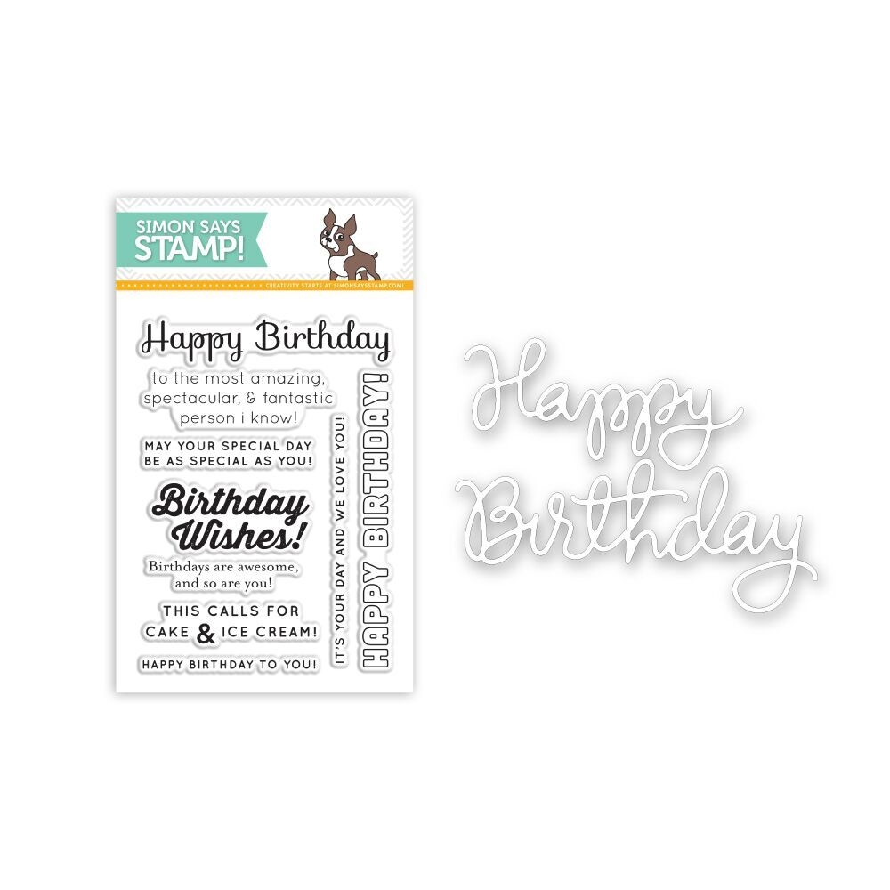 Simon Says DIE & STAMPS SET BIRTHDAY SENTIMENTS SetB64 zoom image