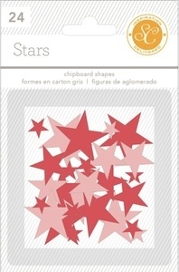 Studio Calico RED & PINK STARS Essentials Chipboard Shapes 332095