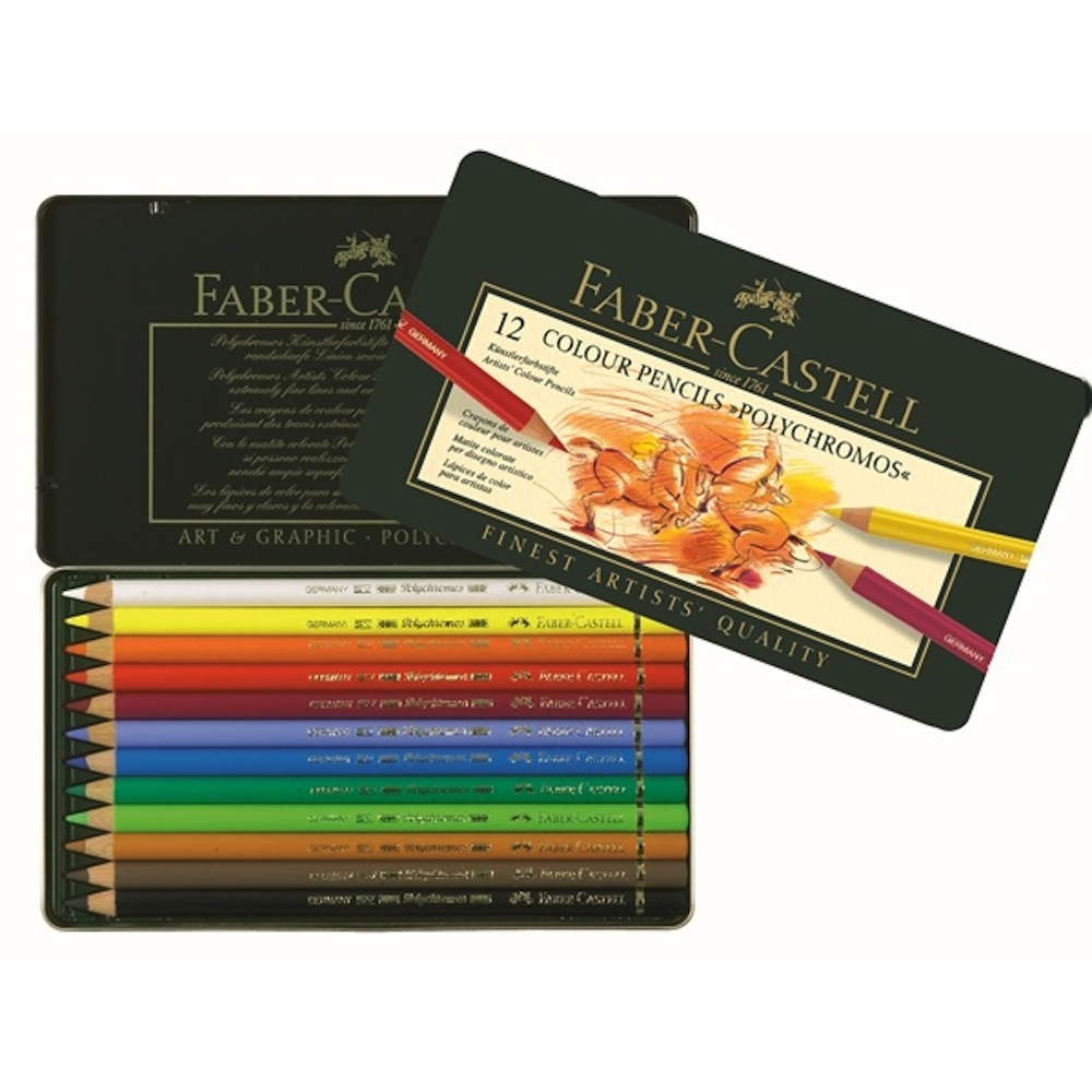 Faber-Castell POLYCHROMOS COLORED PENCILS 12 Piece Set in Tin 110012 zoom image