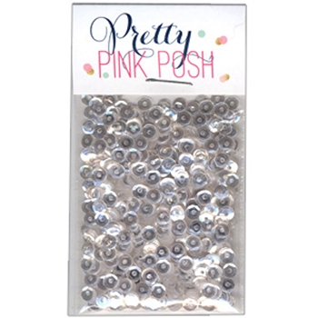 Pretty Pink Posh 4MM SPARKLING CLEAR Cupped Sequins