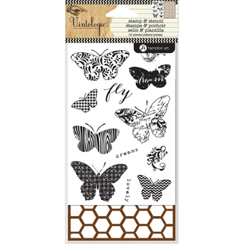 Hampton Art BUTTERFLIES Clear Stamp and Stencil Set Vintologie SC0647*