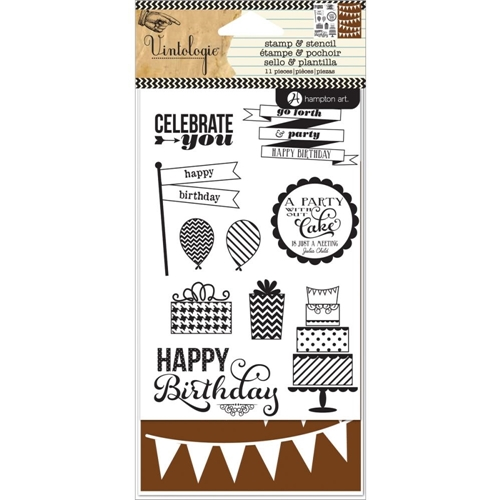 Hampton Art BIRTHDAY Clear Stamp and Stencil Set Vintologie SC0646 Preview Image