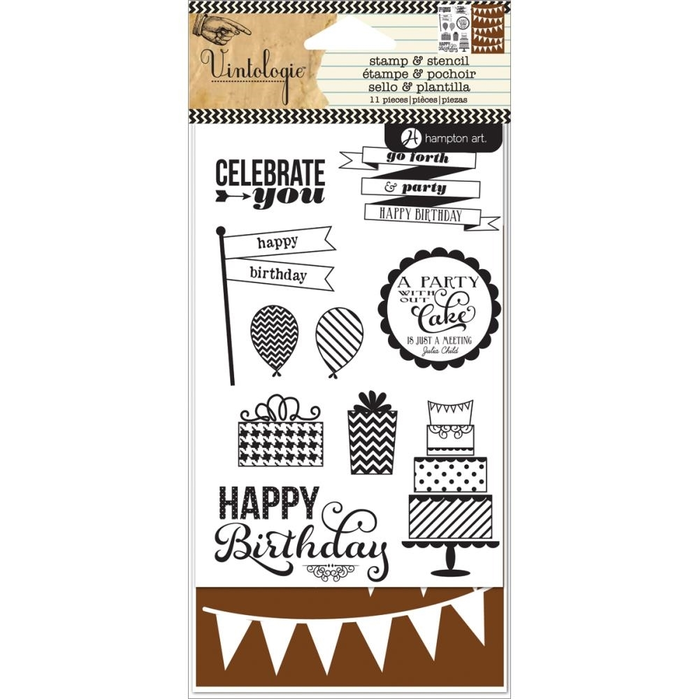 Hampton Art BIRTHDAY Clear Stamp and Stencil Set Vintologie SC0646 zoom image
