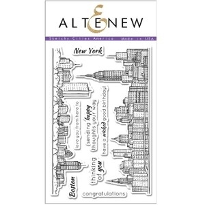 Altenew SKETCHY CITIES AMERICA Clear Stamp Set AN100 zoom image