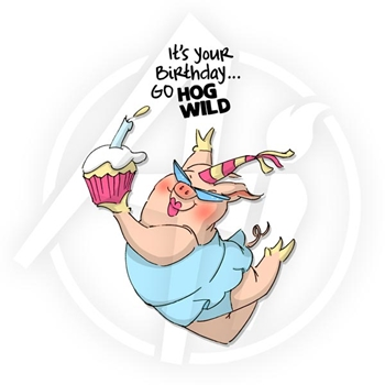 Art Impressions HOG WILD BIRTHDAY Set Cling Stamps 4472