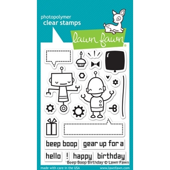 Lawn Fawn BEEP BOOP BIRTHDAY Clear Stamps LF676
