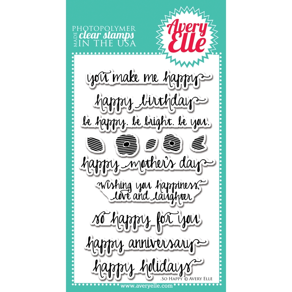 Avery Elle Clear Stamps SO HAPPY Set ST-14-14 or 021419 zoom image