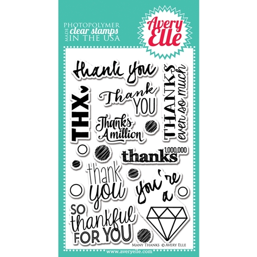 Avery Elle Clear Stamps MANY THANKS Set ST-14-17 or 021440 Preview Image