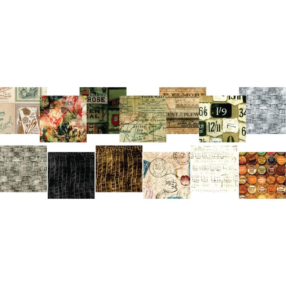 Tim Holtz Fabric Eclectic Elements 16763 FABRIC CRAFTING PACK 6X6 8PC * zoom image