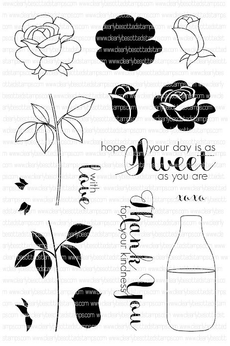 Clearly Besotted SWEET ROSE Clear Stamp Set*  zoom image