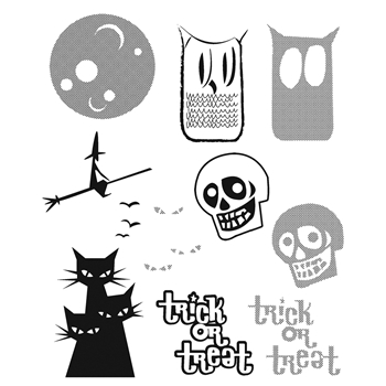 Tim Holtz Cling Rubber Stamps HALFTONE HALLOWEEN CMS199