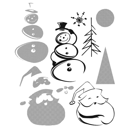 Tim Holtz Cling Rubber Stamps HALFTONE CHRISTMAS CMS204 Preview Image