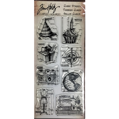 Tim Holtz Visual Artistry MINI BLUEPRINTS Clear Stamp Set CSS41849 Preview Image
