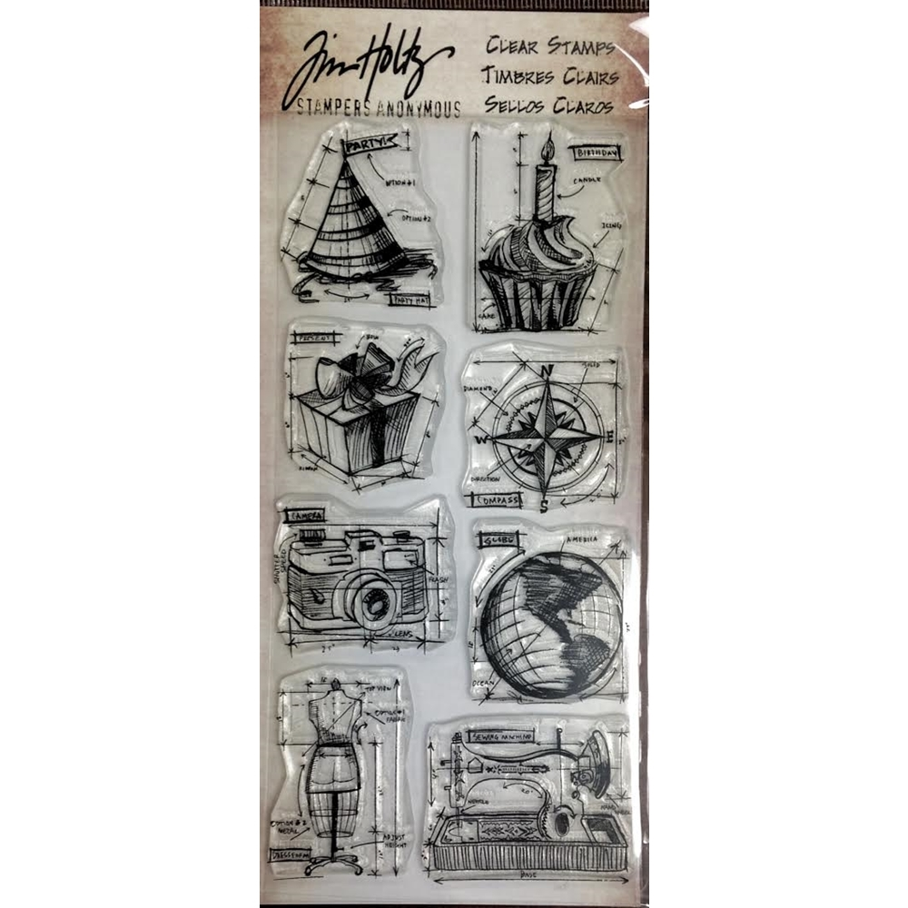 Tim Holtz Visual Artistry MINI BLUEPRINTS Clear Stamp Set CSS41849 zoom image