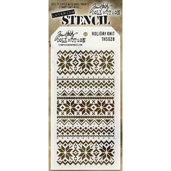 Tim Holtz Layering Stencil HOLIDAY KNIT THS028