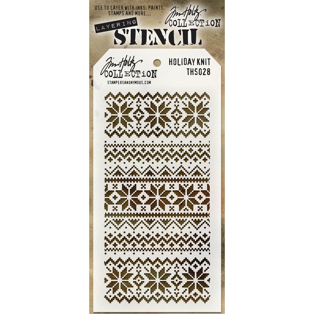 Tim Holtz Layering Stencil HOLIDAY KNIT THS028 zoom image