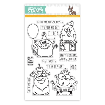 Simon Says Clear Stamps BIRTHDAY FARM ANIMALS sss101430