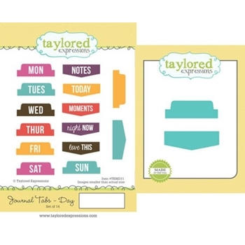 Taylored Expressions JOURNAL TABS - DAY Cling Stamp and Die Set TEMD11