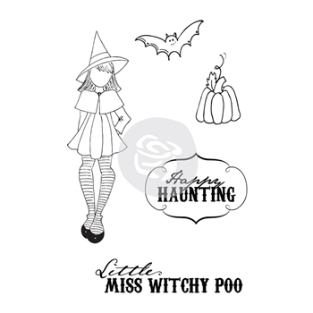 Prima Marketing WITCHY POO Mixed Media Doll Cling Stamp Set 910693