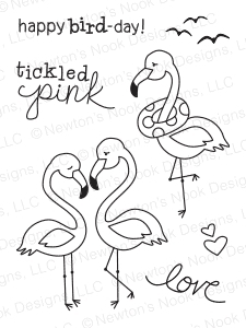 Newton's Nook Designs FLIRTY FLAMINGOS Clear Stamp Set 20140703