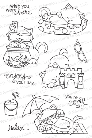 Newton's Nook Designs NEWTON'S SUMMER VACATION Clear Stamp Set 20140702 zoom image