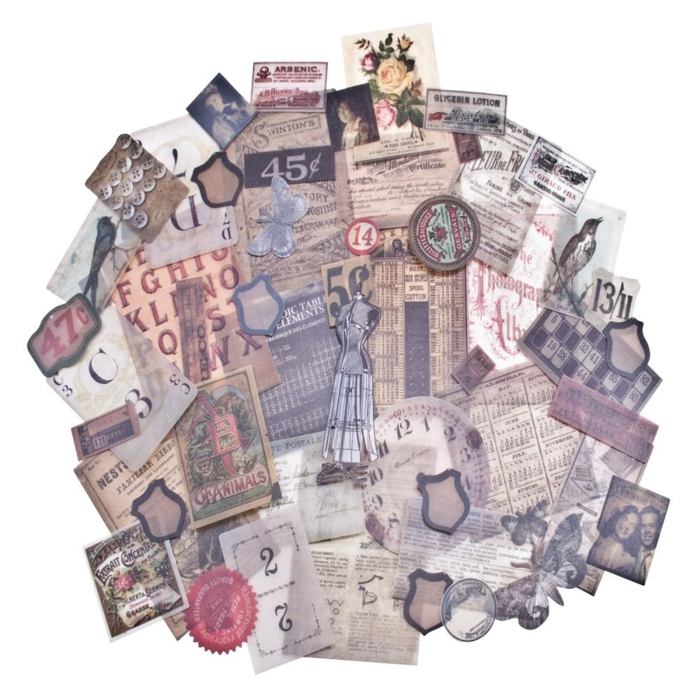 Tim Holtz Idea-ology Ephemera Pack VELLUM THRIFT SHOP TH93149 zoom image