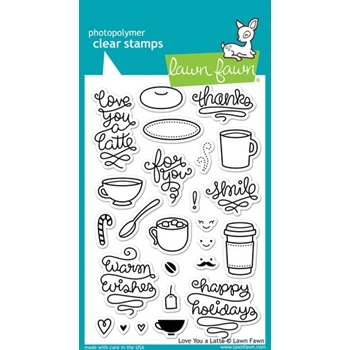 Lawn Fawn LOVE YOU A LATTE Clear Stamps LF704