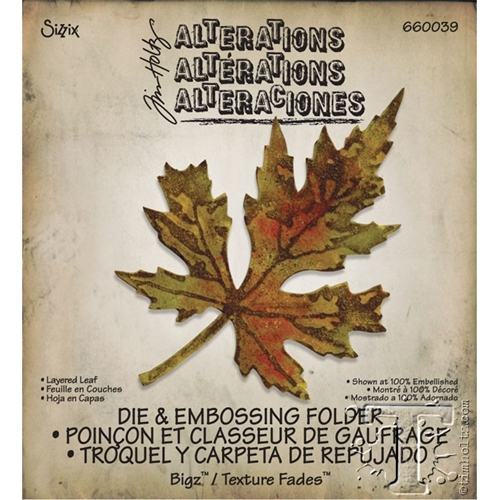 Tim Holtz Sizzix Die LAYERED LEAF Bigz & Texture Treads 660039 Preview Image