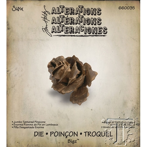 Tim Holtz Sizzix Die JUMBO TATTERED PINECONE Bigz 660035 Preview Image