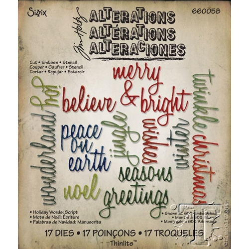 Tim Holtz Sizzix HOLIDAY WORDS: SCRIPT Thinlits Die 660058 Preview Image