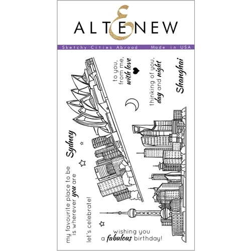 Altenew SKETCHY CITIES ABROAD Clear Stamp Set ALT1108 Preview Image