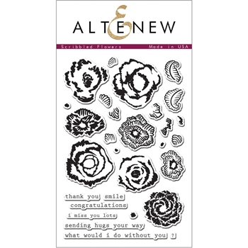 Altenew SCRIBBLED FLOWERS Clear Stamp Set AN119