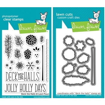 Lawn Fawn SET LF214DTH DECK THE HALLS Clear Stamps And Dies