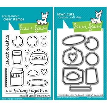 Lawn Fawn SET LF214MAC MILK AND COOKIES Clear Stamps And Dies